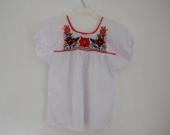 Mexican Embroidered Blouse Handmade with Floral Design
