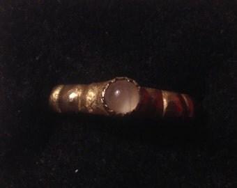 Rose Quartz &Brass Ribbed Stacking Ring