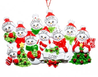 Snowman Family of 10-Personalized Christmas Ornament- Free Personalization and Bag Included!