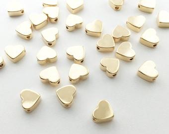 10 Gold Heart Charm 10FS-G