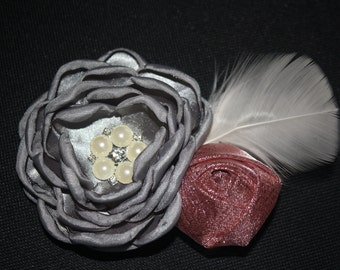 Vintage Satin Rhinestone & Feather Boutique Flower Hair Clip