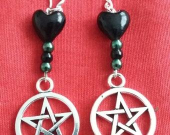 Witch pentagram earrings - hooks are sterling silver