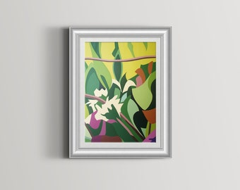 Summer Foliage Abstract Art Print modern colourful floral wall Art Wall Decor Art