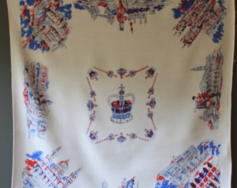 Vintage Cotton Table Cloth in Celebration of Coronation of Queen Elizabeth 2