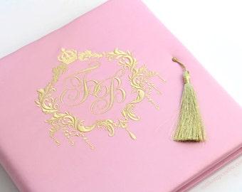 Embroidery Monogram Wedding Guest Book Rococo Barocco Ornaments Frame custom FREE SHIPPING