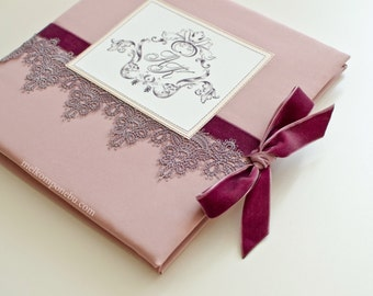 Wedding Guest Book Lace Monogram French style Rococo  FREE SHIPPING