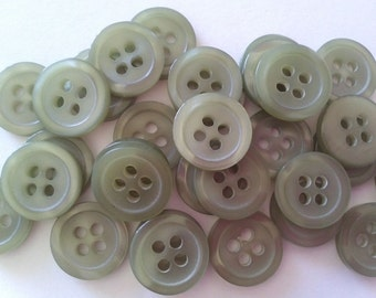 50 Buttons 11mm Green Small 4 Hole A04
