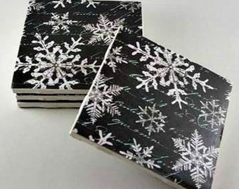 Snowflake Coasters – Christmas Coasters – Drink Coasters – Housewarming Gift – Ceramic Coasters – Holiday Coasters – Tile Coasters