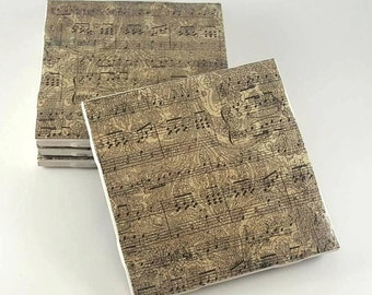 Music Sheet Coasters – Rustic Coasters – Drink Coasters – Housewarming Gift – Ceramic Coasters – Tile Caster – Hostess Gift – Music Coasters