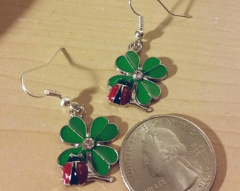 Ladybugs four leaf clover green earrings rhinestone St. Patrick's Day