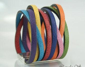 Multicolor leather Cuff Bracelet