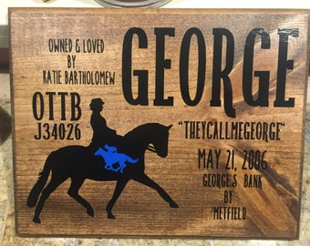 Custom Dressage Horse Stall Sign or Plate
