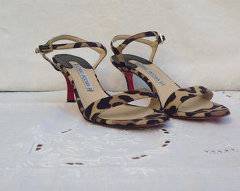 Sandals Luciano Padovan. Leather sandals. Vintage sandals. Vintage sandals. Printed pony sandals