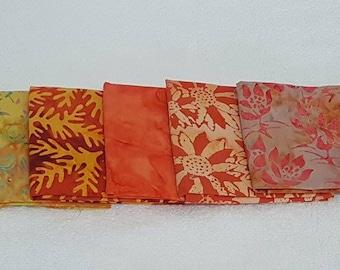 Batik Fat Quarters Red Tones  - 5 Pack