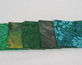 Batik Fat Quarters Green Tones  - 5 Pack