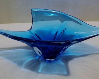 Vintage Glass blown blue cobalt bowl