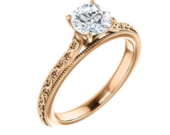 Moissanite Engagement Ring Rose Gold / Rose Gold Moissanite Engagement Ring / 10K, 14K, 18K - Rose, Yellow, White Gold Available