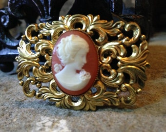 Vintage Cameo Brooch Celluloid Pin Coral Color Celluloid Cameo Victorian Style Jewelry