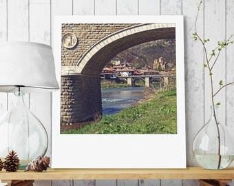 "Custom Polaroid Style Cotton Canvas Print with Copyright Photo of Veliko Tarnovo -""Bridge Under the Bridge"", 3 sizes available, Gift Idea"
