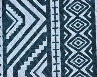 Dark blue and white Fabric