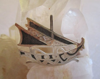 Sterling Silver Celtic Ship Brooch Hand Made in the 1970's