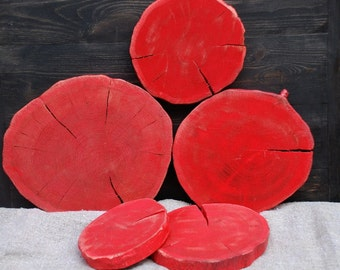 "Set of 5 oak 5-8"" inches slices,Eco friendly slices,Natural oak slises,oak slabs,oak coasters,red coasters,red oak,red wood,Natural Art Wall"