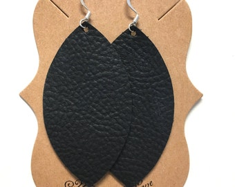 Black Leather Statement Earrings