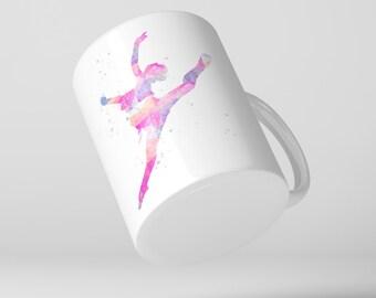 Ballerina Dancer Coffee Mug , Watercolor Splash, Dancing, Dance, Modern, Ballet