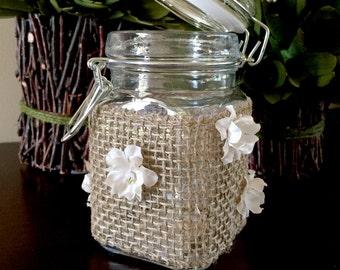Clamp Lid Glass Jar/Rustic Glass Jar/Rustic Flower Jar/Rustic Flower Container/Country Jar/Burlap Jar/Burlap Glass Jar/Farmhouse Glass Jar