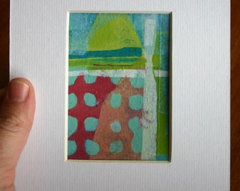 Original art, Collage, Mixed media, Small art, matted, ready to frame, Kim Mullay, studiogreenwood
