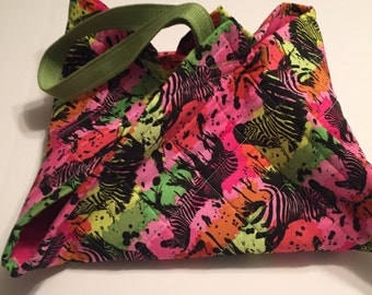 Quilted Casserole Carrier, Ready to ship, one of a kind, Zebras, Bright colours,