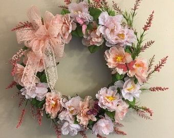 Pink  Peony Lace and Butterfly Wreath