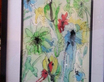 Watercolour painting Abstract floral design. White wooden frame with matte