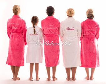 Luxurious, plush and fluffy embroidered bridal robes and gift boxes