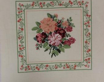 Finished Cross Stitch-Roses-Unframed