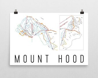 Mount Hood Ski Map Art, Mt Hood Art, Mt Hood Oregon, Mount Hood Trail Map, Oregon Art, Oregon Gifts, Oregon Print, Oregon Wall Art, Oregon