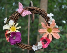 Small Fall Silk Flower Grapevine Wreath, Autumn, Floral, Butterfly, Zinnia, Pansy, Apple Blossom, Poppy, Fall Wreath, Floral Wreath