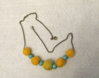 sale - marked down from 22.00 - Felt felted bead necklace with turquoise beads