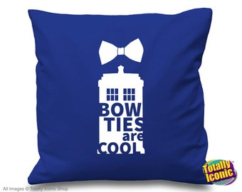 Doctor Who - Pillow Cushion Cover - Inspired TV Time Traveller character - Bow Ties are Cool!, Tardis, Time Lord, Sci Fi, Time Traveller