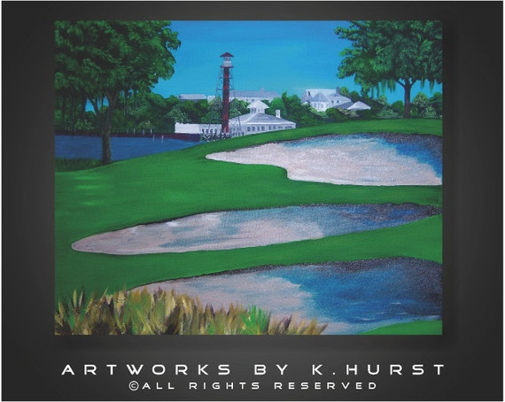 Modern Original Florida Golf Landscape in green and blues. Great gift for man. Office gift