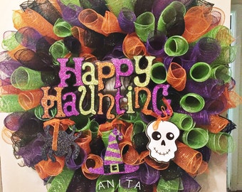 Halloween Deco Mesh Wreath/ Halloween Wreath/ Halloween Decor/ Front Door Wreath/ Deco Mesh Wreath/ Door Wreath/ Fall Wreath