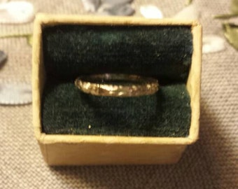 Vintage white gold baby ring in original box