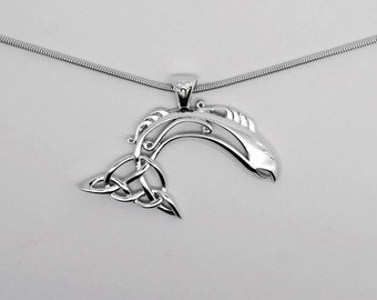 Celtic Salmon Of Knowledge Sterling silver pendant
