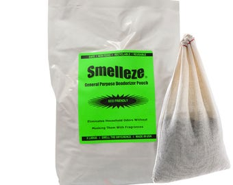 SMELLEZE Reusable Home Smell Removal Deodorizer Pouch: Rids Stinky Odor Without Scents in 200 Sq. Ft.
