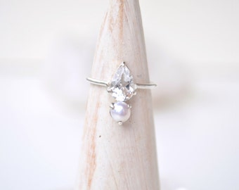 White Topaz and Pearl Dainty Ring