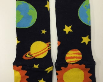 Solar System Planets Leg Warmers, Winter Leg Warmers for Babies, Galaxy Print Socks, Gender Neutral Leg Warmers, Galaxy Print, Galaxy Socks