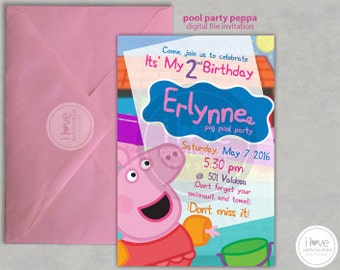 Peppa Pig Pool Party Invitation