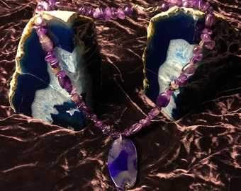 Amethyst and Purple Agate Multi-Stone Necklace, One-of-a-Kind