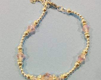 Crystal and Silver Bracelet - Light Rose