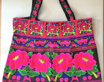Handbag  shoulder bag  tote bag large Embroidered autentic boho flowers
